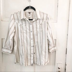 North Face White, Brown & Turquoise Snap Blouse